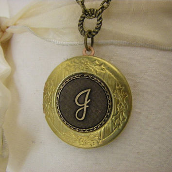 Womens Vintage Locket Necklace Letter Initial J personalized J monogram necklace engraving gift for her brass anniversary