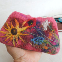 Nuno Felted Eyeglass Case  peach colors with bouquet of wildflowers, OOAK.