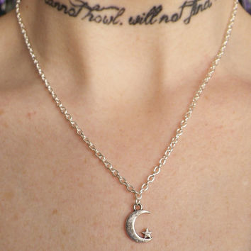 Tiny moon and star necklace