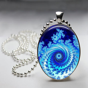 Fractal Blue twister  Oval Glass pendant Necklace. Handmade 18x25mm Oval Jewelry Choose your chain