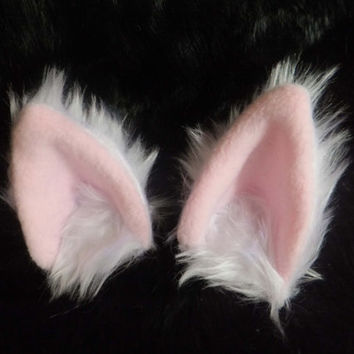 White Furry Cosplay Cat Neko Ears on Hair Clips Kawaii Halloween Fursuit Pet Petplay Cute Kitty Kitten