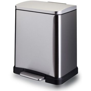 LB Rectangular Step Pedal Wastebasket Trash Can Waste Bin 12 lt, Polished Chrome