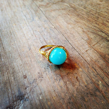 Blue jade wire wrapped ring with gold seed beads