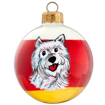 "Blown Glass Pet Set West Highland White Terrier Tailwaggers Dog Christmas Ornament - Hand Painted, 3"" in Size, Made in Poland"