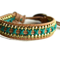 Teal Single Leather Wrap Bracelet, Teal and Gold Wrap Bracelet, Teal Leather Bracelet, Gold Leather Bracelet