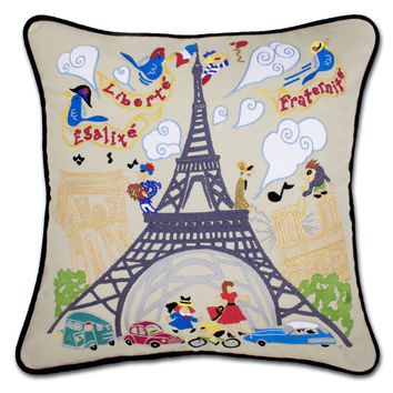 Eiffel Tower Hand Embroidered Pillow