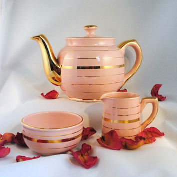 Tea Set, Sadler Teapot Pink with Gold and matching Cream and Sugar Bowl