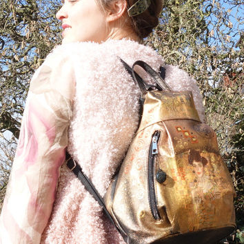 GOLD BLACK BACKPACK - faux leather rucksack - Adele Klimt Decoupage bag trendy womens ruck sack - everyday backpack - boho hippie hipster