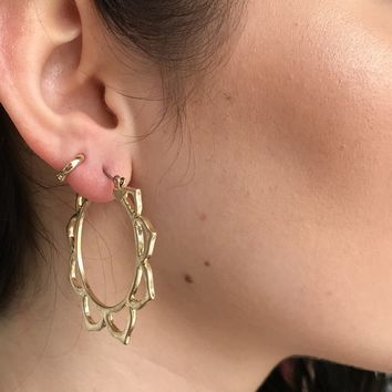 Sunflower Gold Hoop Earrings