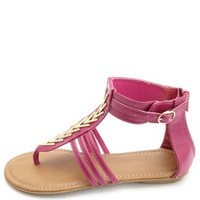 Chevron Embellished Thong Gladiator Sandals - Magenta