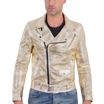 Gold Handmade Leather Biker Jacket