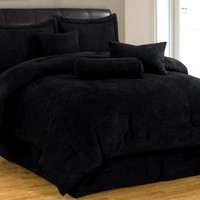 7 Piece Solid Black Micro Suede Comforter Set Cal (California) King Bed in a bag with accent pillows