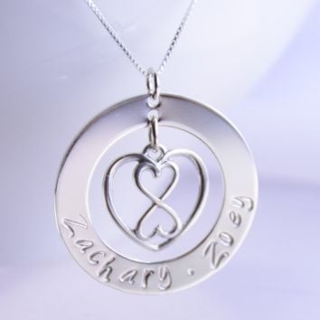 Personalized heart infinity necklace - Washer necklace, Mother necklace, Grandmother gift, Mother's day gift