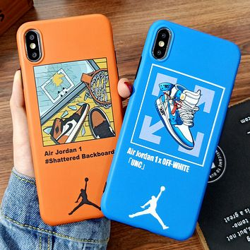 Jordan & Off White New fashion shoes cross arrow print couple protective cover phone case
