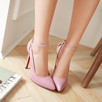 elegant buckle pu women pumps large size 33-43 thin heels pointed toe lace-up party shoes high heel ankle strap lady shoes AA363
