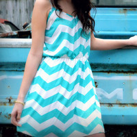 Teal My Heart Chevron Dress