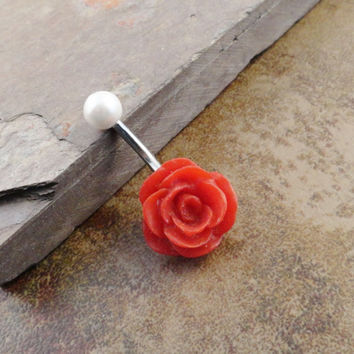 Red Rose Belly Button Jewerly