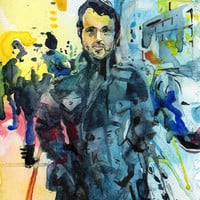 Original Watercolor and Ink Painting - Dribbble Dave - Portrait of a Man