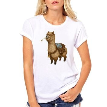 Cute Alpaca Cartoon T-Shirt