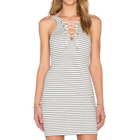 Women's Fashion Deep V Fine Strap Stripes Slim Sleeveless One Piece Dress [4966115460]