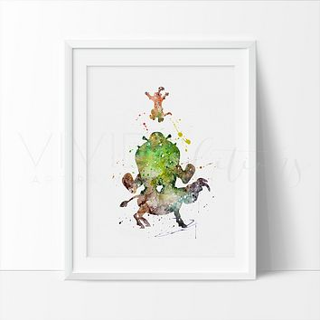 Shrek and Donkey, Puss in Boots Watercolor Art Print