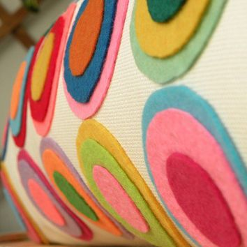 Multi Color Felt Disc Pillow by KETCHE on Etsy