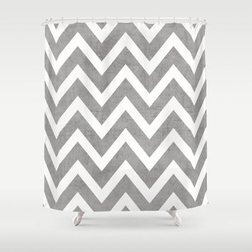gray chevron Shower Curtain by Her Art