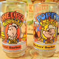 Vintage 1982 Popeye and Swee'Pea Glass Made for Popeye's Famous Fried Chicken and Pepsi - Great Advertising Collectible