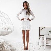 High Quality Women 2018 New Sexy Fashion Autumn Sleeveless  Evening Party Women's Lace Long Sleeve Party Mini Dress Dropshipping