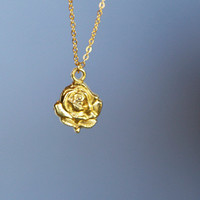Gold Rose Flower Necklace, Gold Plated, Everyday Dainty Diamond Cut Gold Plated Chain, Bridal Birthday, Customized, Hand Stamped, Birthstone