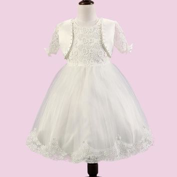 Short Flower Girl Dresses With Jacket 2016 Ball Gown First Communion Dresses for Girls Lace Appliques Bow White Pageant Dress
