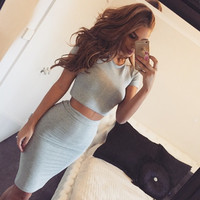 Sexy Gray Crop Top T-shirt with Bodycon Knee-length Skirt Two-Piece Dress Set