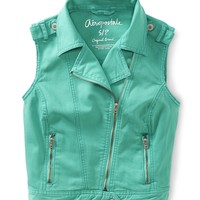 Colored Denim Moto Vest - Aeropostale