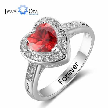 New 925 Sterling Silver Engagement Rings Birthstone Ring Engrave Name DIY Love Heart Shape Rings Free Gift Box JewelOra RI102731