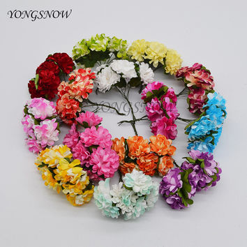 12Pcs/lot 3CM Artificial Paper Flowers Chrysanthemum Flower Bouquet Wedding Party Decoration DIY Scrapbooking Wreath Flowers 9Z