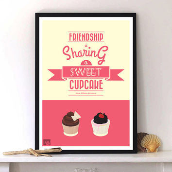 Friendship & Cupcake quote print poster, Typography print design, kitchen wall decor A3 size Pink Beige Yellow Brown