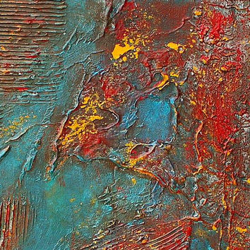Painting, Oil Painting, Large wall art, Original Modern Painting Red Abstract Painting Turquoise Texture Art Home Decor by Nandita Arts