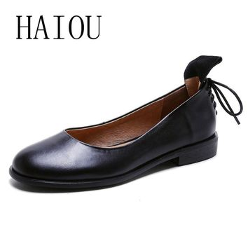 2017 Women Black Shoes Slip on Woman Genuine Leather Flat Shoes Fashion Handmade Leath