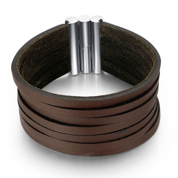 Leather Strips and Stainless Steel Clasp Unisex Bracelet