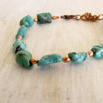 Turquoise Copper Beaded Anklet Bracelet Ankle Summer Handmade Jewelry  Outdoors Ankle