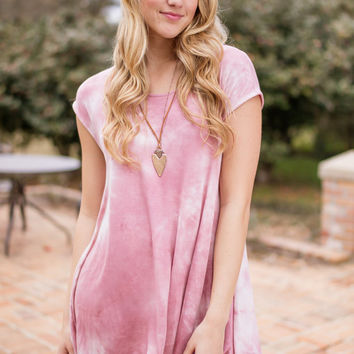 Mission for the Beach Mauve Tie Dye T-shirt Dress