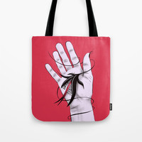 Disturbing Itch - Hand Biting Flower Monster Tote Bag by borianagiormova