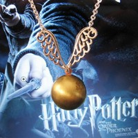 Harry Potter â?? The Golden Snitch Necklace - Wedding Jewelry | Handmade Jewelry | Bridal Jewelry -