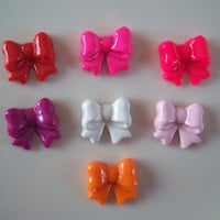 Lot of 10 Medium Mixed Color Kawaii Bow Cabochons for DIY projects, Phone Deco, Decoden, Hairbow Centers, Jewelry and More
