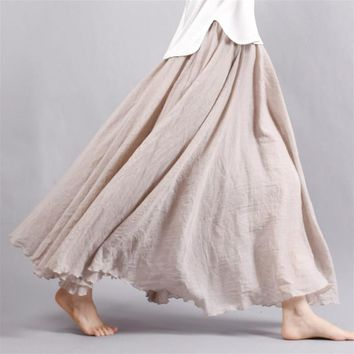 2018 Women Linen Cotton Long Skirt Pleated Skirt  Elastic Waist Maxi Skirts Beach Boho Vintage Summer Skirts Saia Faldas