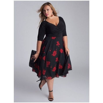 Women Sexy V-neck Patchwork Floral Dress A-line Irregular Elegant Plus Size Party Dress OZBQ5652 [9221905988]