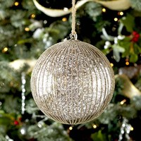Striped Silver Mercury Glass Sphere Ornament