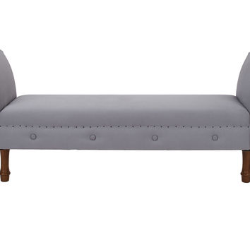 Elise Roll-Arm Bench, Gray, Entryway Bench