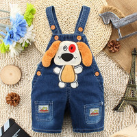 2015 summer fashion cute dog pattern Baby Jeans Rompers Denim Overalls Infant Coveralls Kids Boys Girls Jumpsuits suspender trousers Bib pants