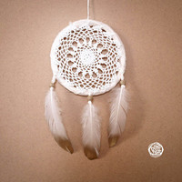 Dream Catcher - Smal White Sun - With Vintage Crochet Web and Golden Painted Feathers - Boho Home Decor, Nursery Mobile